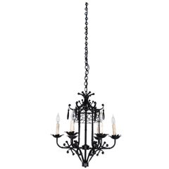 Vintage Chinoiserie Style 6-Arm Hanging Chandelier in Faux Bamboo