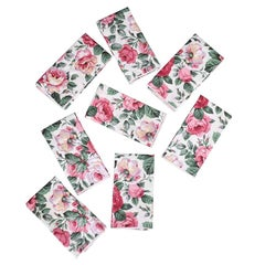 Vintage Chintz Floral Cloth Dinner Napkins in Pink and Green, Set of 8