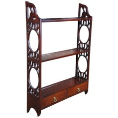 Vintage Chippendale Style Cherry Wall Shelf Plate Rack Hanging Display