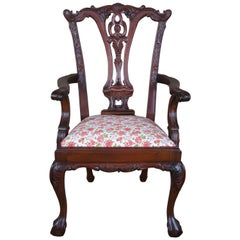 Vintage Chippendale Style Mahogany Childs Doll Accent Chair Ball & Claw Floral