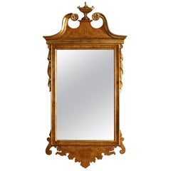 Vintage Chippendale Style Parcel-Gilt and Burl Walnut Wall Mirror, 20th Century