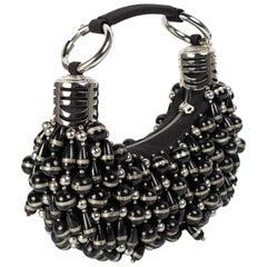 Vintage Chloe Black Silver Beaded Bracelet Hobo Bag