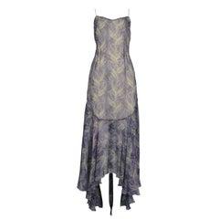 Vintage Chloe Blue & Green Feather Print Dress 1999