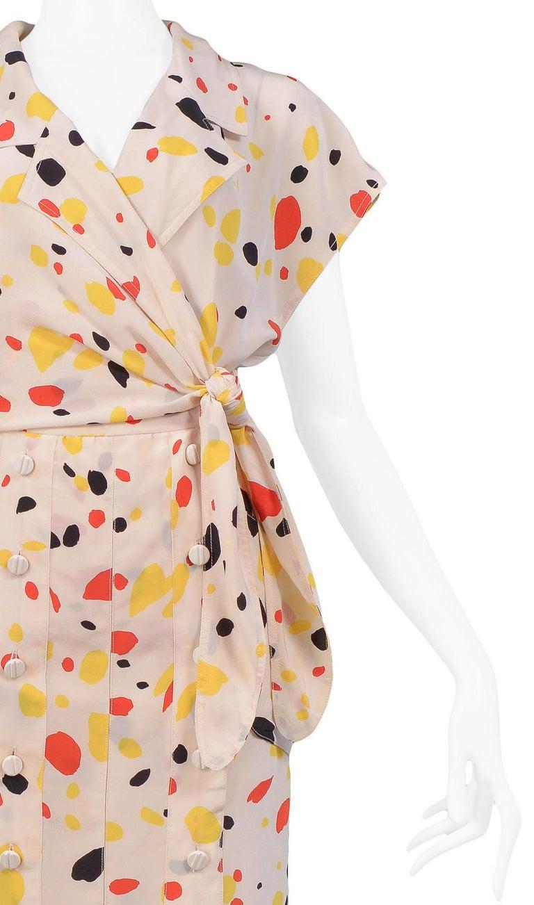 b0498a5fbf Vintage Chloe Cream Silk Abstract Polka Dot Dress