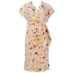 Vintage Chloe Cream Silk Abstract Polka Dot Dress