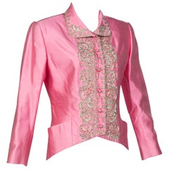 Vintage Chloé Pink Silk Shantung Embroidered Beaded Skirt Suit