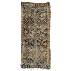 Vintage Chocolate Brown Beni M'Guild Moroccan Rug with Mid-Century Modern Style