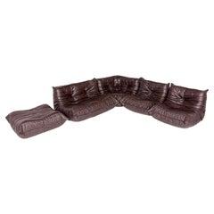 Vintage Chocolate Brown Leather Togo Set by Ligne Roset
