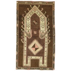 Vintage Chocolate Brown Tribal Turkish Prayer Rug