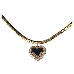 Vintage Chopard 18 Karat Yellow Gold Happy Diamonds Heart Necklace
