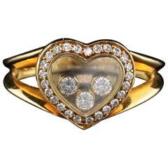 Vintage Chopard 18 Karat Yellow Gold Happy Diamonds Heart Ring