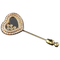 Vintage Chopard 18 Karat Yellow Gold Happy Diamonds Heart Stick Pin