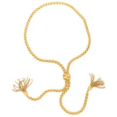 Vintage Chopard Adjustable Tassel Necklace Set in 18 Karat Yellow Gold