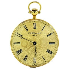 Vintage Chopard Beautifully Engraved 18K Gold Pocket Watch Ref. 3004 Circa 1960s