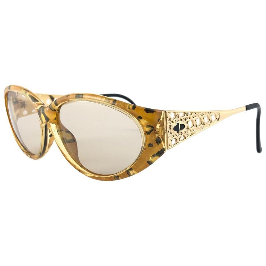 Vintage Christian Dior 2592 Amber & Gold Marbled Sunglasses 1980's Austria