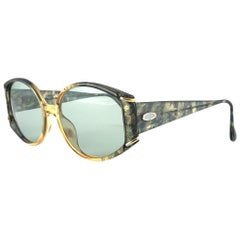 Vintage Christian Dior 2592 Green & Gold Marbled Sunglasses 1980's Austria