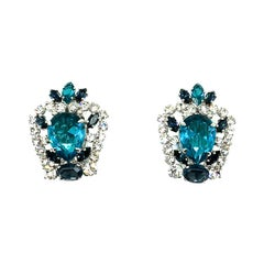 Vintage Christian Dior Aqua & Sapphire Blue Crystal Earrings 1970