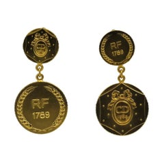 Vintage Christian Dior Bicentennial Coin Limited Edition Earrings