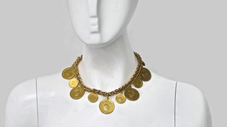 Vintage Christian Dior Bicentennial Coin Limited Edition Necklace For Sale 1