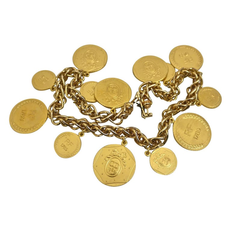 Vintage Christian Dior Bicentennial Coin Limited Edition Necklace For Sale