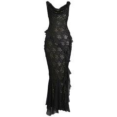 Vintage Christian Dior Black Metallic Burnout Gown