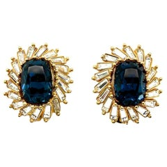 Vintage Christian Dior Blue And White Crystal Earrings 1990s