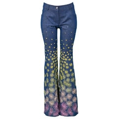 Vintage Christian Dior Blue Denim Embroidered Firework Pants 2002