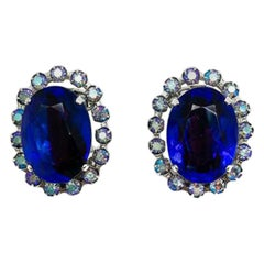 Vintage Christian Dior Blue Flash Crystal Earrings 1958