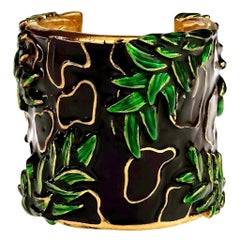 Vintage CHRISTIAN DIOR BOUTIQUE Embossed Leaf Pattern Enamel Cuff Bracelet