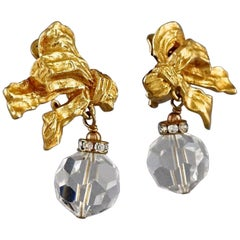 Vintage CHRISTIAN DIOR BOUTIQUE French Bow Faceted Bead Earrings