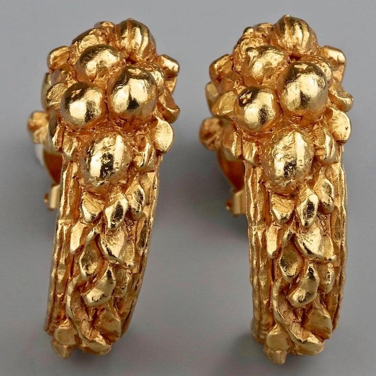 Vintage CHRISTIAN DIOR BOUTIQUE Fruit Motif Hoop Earrings For Sale 2