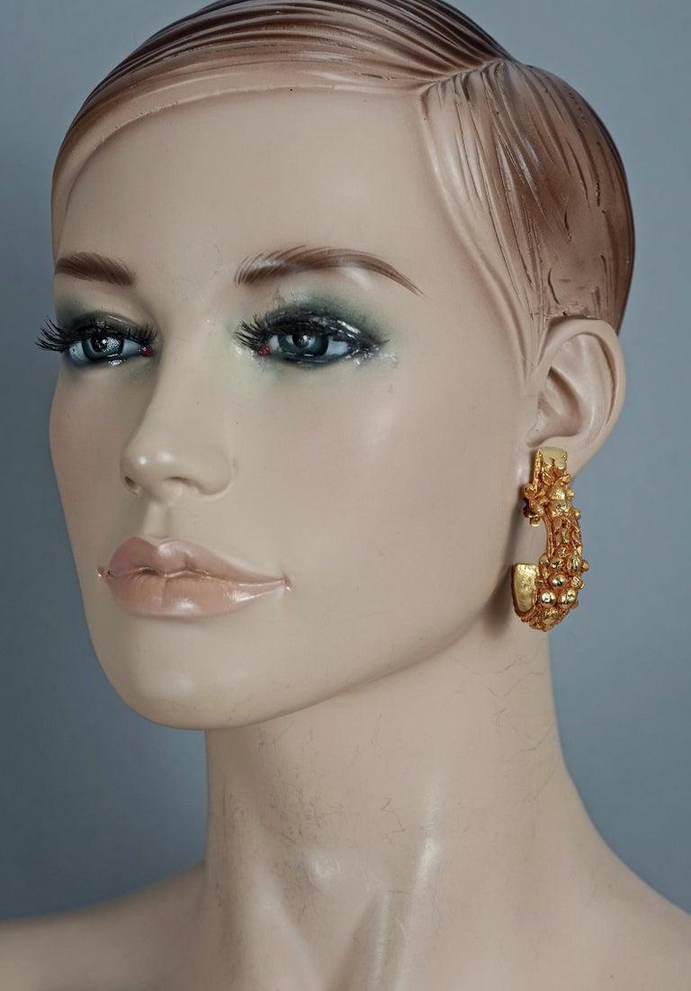 Vintage CHRISTIAN DIOR BOUTIQUE Fruit Motif Hoop Earrings For Sale 3