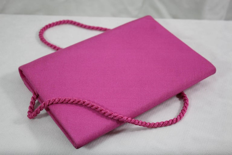 Women's or Men's Christian Dior Vintage Boutique Pink Silk Clutch For Sale