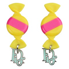 Vintage CHRISTIAN DIOR by GALLIANO Candy Logo Earrings