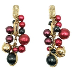 Vintage Christian Dior by Galliano Gold Ruby & Black Tumbling Sphere Earrings