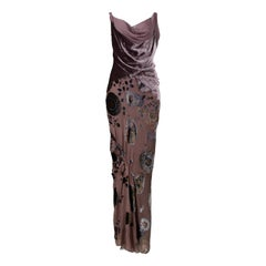 Vintage Christian Dior by Galliano Taupe Velvet Floral Devore Gown