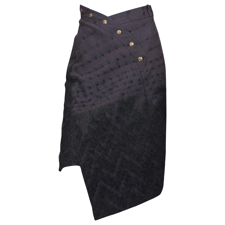 Vintage CHRISTIAN DIOR by John GALLIANO Asymmetric Mohair Wool Skirt Circa 2000