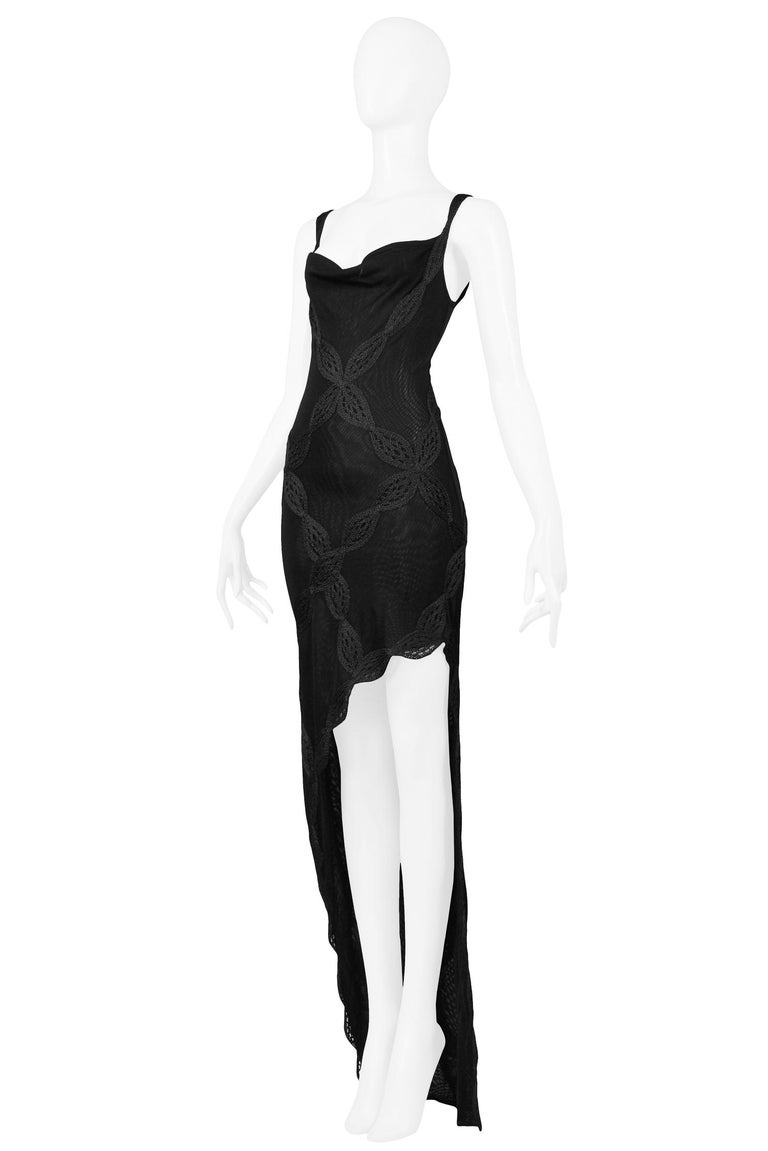 Vintage Christian Dior by John Galliano Black Lace Asymmetrical Gown In Excellent Condition For Sale In Los Angeles, CA