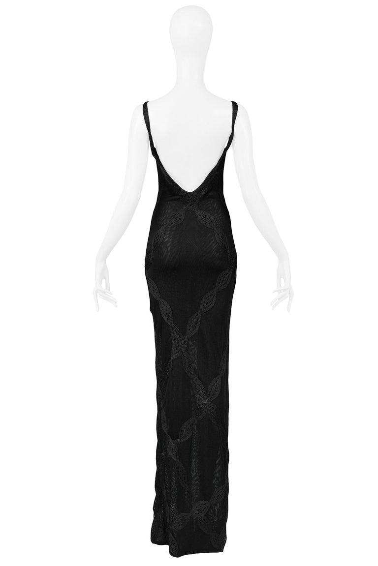 Women's Vintage Christian Dior by John Galliano Black Lace Asymmetrical Gown For Sale