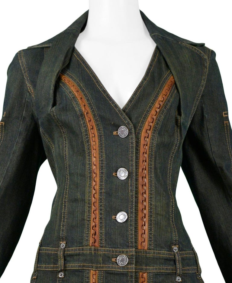 Black Vintage Christian Dior by John Galliano Dirty Denim & Leather Coat Dress For Sale