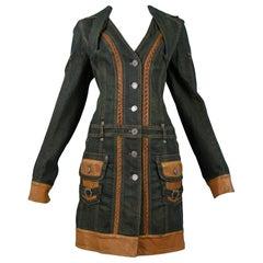 Vintage Christian Dior by John Galliano Dirty Denim & Leather Coat Dress