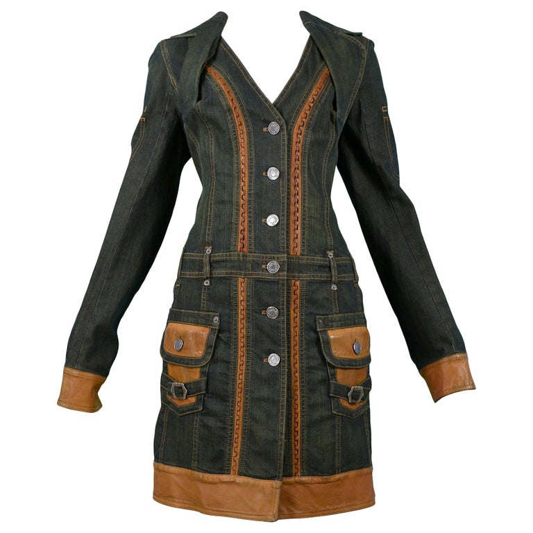 Vintage Christian Dior by John Galliano Dirty Denim & Leather Coat Dress For Sale