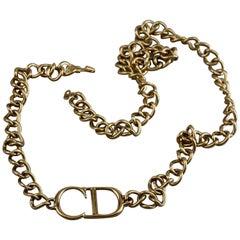 Vintage CHRISTIAN DIOR by JOHN GALLIANO Logo Monogram Chain Necklace Belt