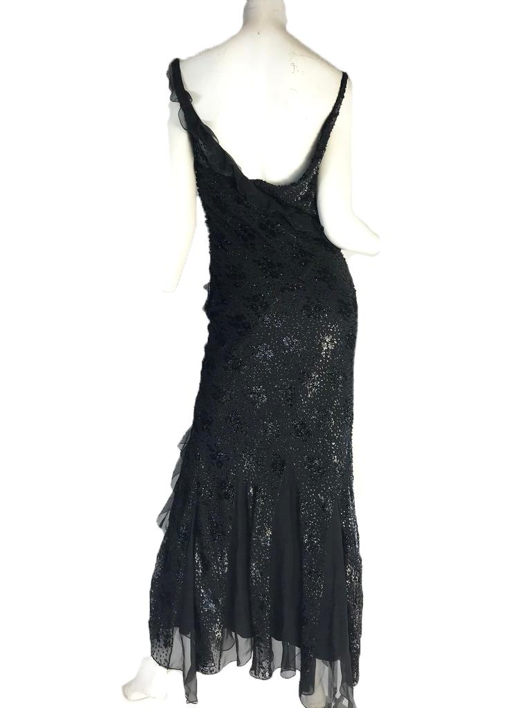 Christian Dior by John Galliano black silk evening gown. Ruffle trim and button closures on side. Size M / US 6   37