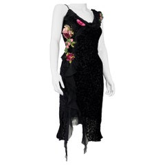 Vintage CHRISTIAN DIOR by JOHN GALLIANO Velvet Flower Embellished Dress