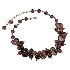 Vintage Christian Dior by Kramer Burgundy Color Glass Necklace 1950's