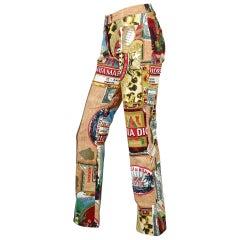 "Vintage CHRISTIAN DIOR ""Candy Factory"" Pop Art Post Card Pants"