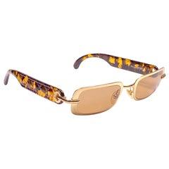 Vintage Christian Dior Carla V42 Gold Small Grey Optyl Sunglasses 1990