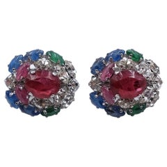 Vintage Christian Dior Clip-on Earrings With Crystals and Rhinestones 1970's