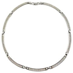 Vintage Christian Dior Contemporary Silver Crystal Collar 1990s